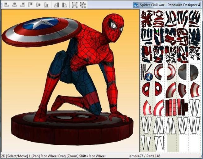 Created by Brazilian designer Rafael Cunha , from Unfold Brazil  website, this  Spiderman figure, with the Civil War suit and Captain Amer...