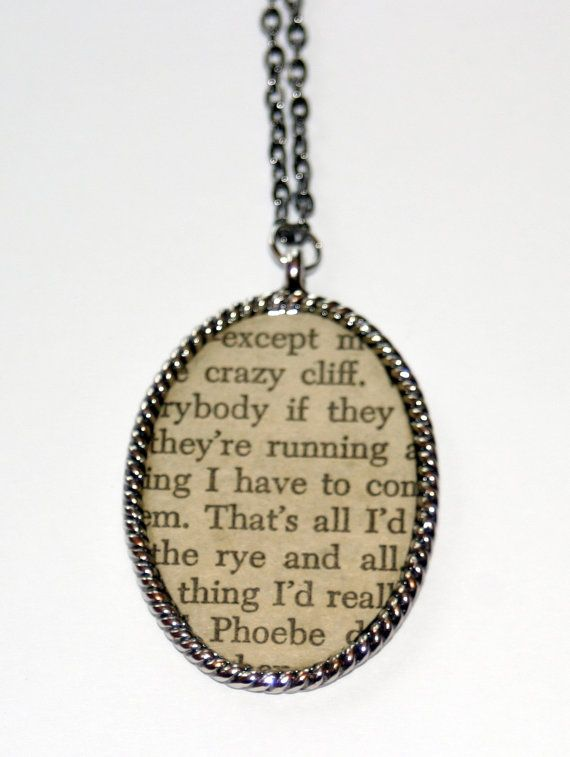 Literary Necklace  The Catcher in the Rye  J.D. by thebookishlife