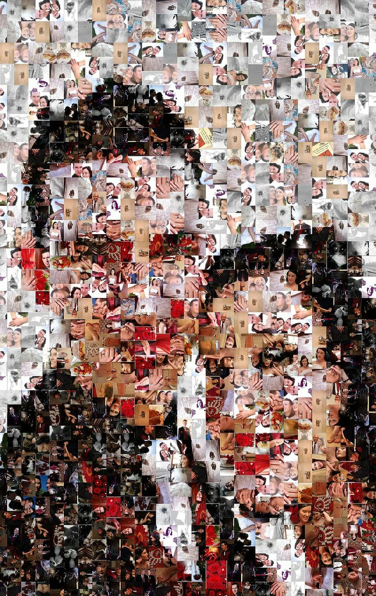 A Mosaic Collage of a client's wedding day. Made up of only their wedding photos.