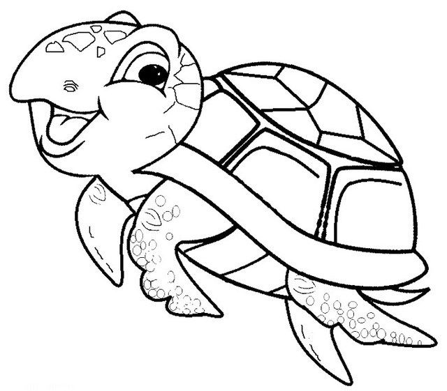 Cute And Funny Baby Sea Turtle Coloring Page Turtle Coloring Pages Turtle Drawing Sea Turtle Drawing