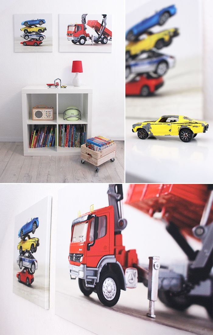 DIY, Leinwand, cewe, Kinderzimmer, Wanddeko, Kids, Autos