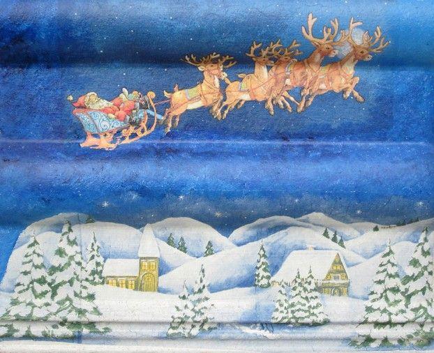 Der Weihnachtsmann kommt - Serviettentechnik mit Dachziegel
