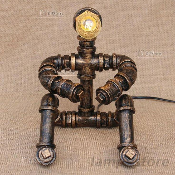 Новый стимпанк робот стола настольная лампа трубка мыслитель E27 легкий домашний чтение освещение