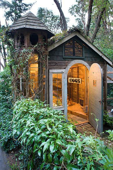 A fanciful version of a shed chicken coop.