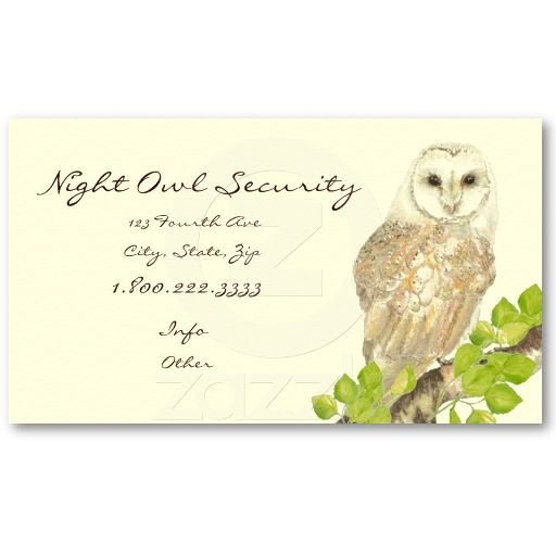 Watercolor Barn Owl Security Business Business Cards