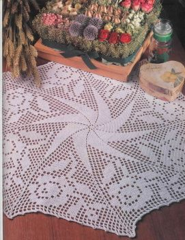 Crochet 'Pinwheel' doily, free pattern in English and also graph to follow.