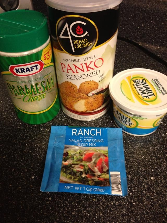Supplies. In a medium bowl, mix ranch packet, bread crumbs & Parmesan cheese. Set aside.