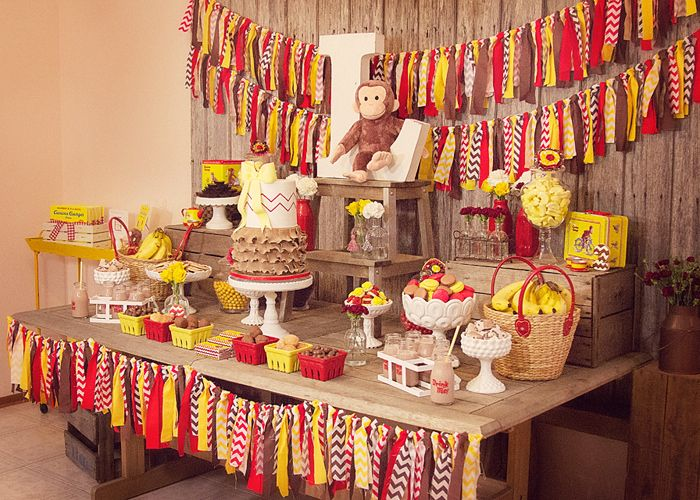 Curious George party - SO cute - could be good for a baby shower