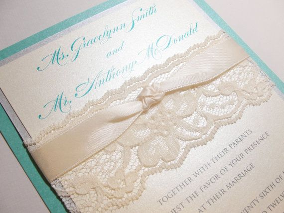 Lace Wrapped Wedding Invites, love this idea.