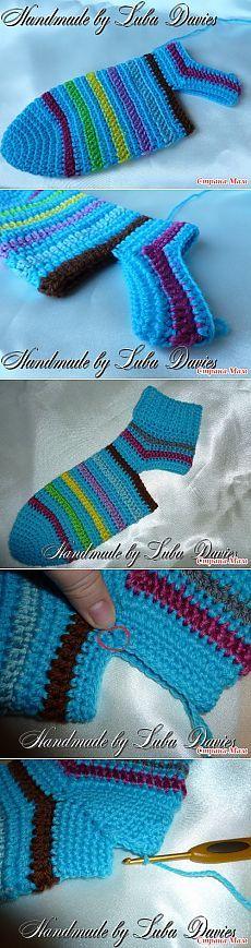 Мужские носки крючком. (Мастер-класс пятка) - Вязание - Страна Мам