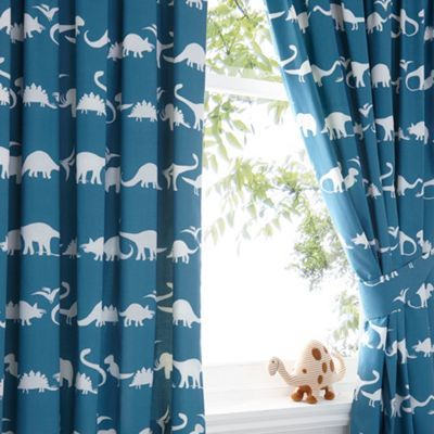 Kids Blue Dinosaur Print Curtain Set Shops Kid And Boys