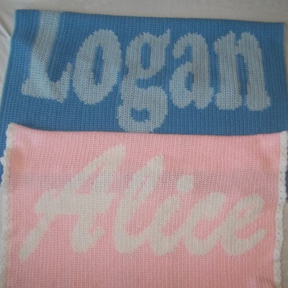 Custom Crochet Baby Name Blanket Baby Blanket By