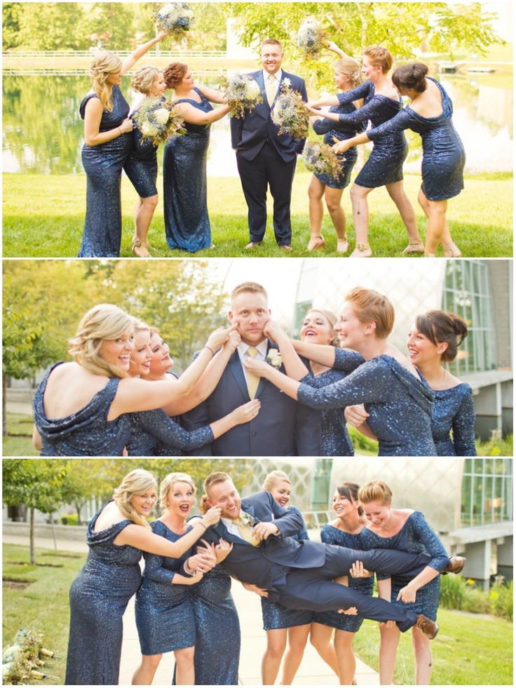 Bridesmaids with the groom. Fun picture ideas and poses. Picking up the groom. Pinching the grooms cheeks. Teasing the groom. Navy sequin bridesmaid dresses. Cowl backs. Maid and matron of honor (maternity dress) in floor length while bridesmaids are in knee length. Groom in navy tux with gold tie.