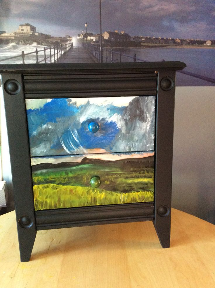 """The storm is coming"" side table  Mixed media: oil, acrylic and latex.  Sealed twice. Drawers lined.   Solid wood"