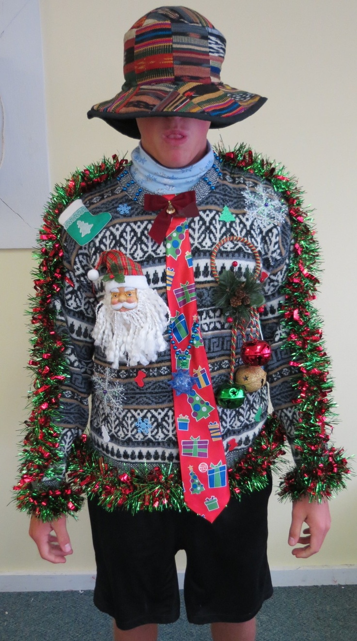 bold sweater with a tie ornaments and bells - Light Up Christmas Tie