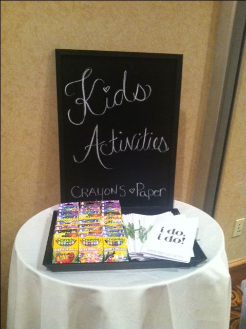 Wedding, Chalk board kids table sign.  Perfect to keep kids busy before  meal arrives at reception.