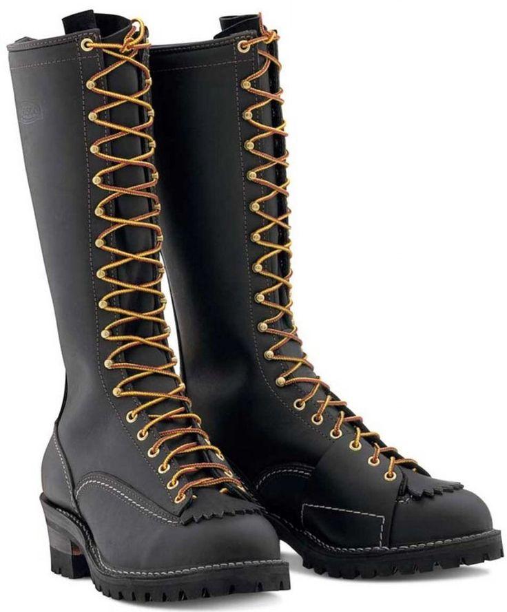 "Wesco Highliner Work Boots 16"" Vibram Soles Black Lineman Climbing Style # 9716 #Wesco #WorkSafety"