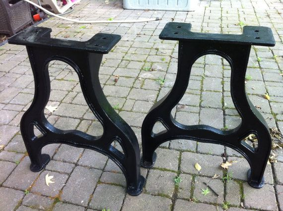 A New Pair Of Cast Iron Table Legs   Beautifully Finished With Black Powder  Coating.