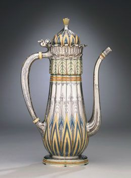 Tiffany & Co., United States (New York, NY), 1837-present. Coffeepot, 1893. Silver with enamel, ivory, and jade. 25.4 x 15.6 x 7.6 cm. Carnegie Museum of Art, Pittsburgh