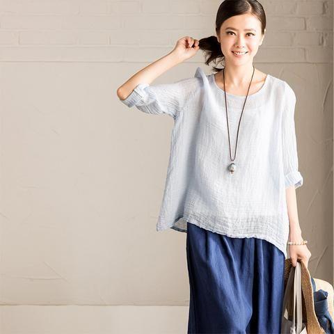 Three Quarter Sleeve Round Cotton Linen women T-shirt C1633A