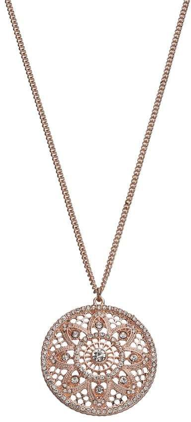 LC Lauren Conrad Long Openwork Medallion Disc Pendant      Featuring an intricate pendant adorned with simulated crystals, this LC Lauren Conrad necklace is a stunning choice.Pendant Details Pendant length: 1.38 in. Chain length: 32 in. with 3-in. extender Chain type: curb Clasp: lobster-claw Plating: rose gold tone. Affiliate