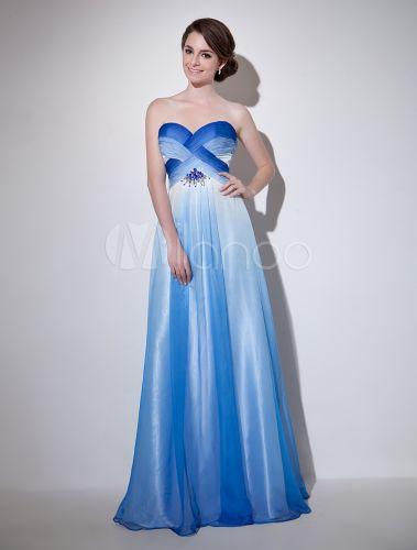 robe de soire belle bleu royal a ligne en chiffon avec perles encolure coeur - Milanoo Robe De Soiree Pour Mariage