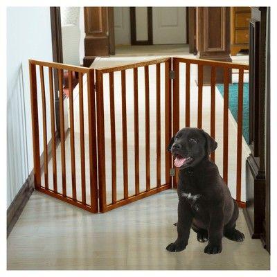 Petmaker Freestanding Wooden Dog Gate - Mahogany (Brown)