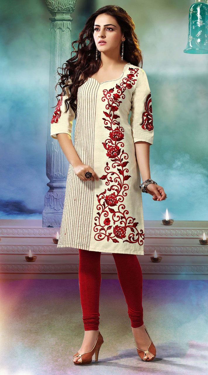 Classy cream khadi cotton kurti which is adorned with resham and embroidery work. This readymade Kurti comes in bust size 40 and 44 inches. Legging can be purchased additionally. They are not a part of this kurti.