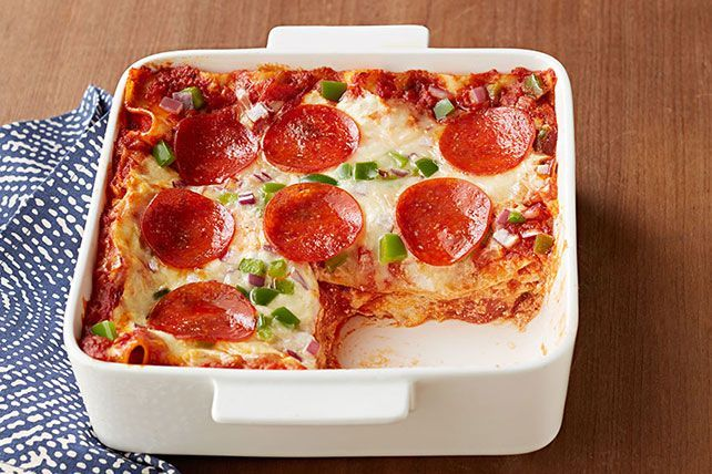 Pepperoni pizza and lasagna all in one dish? That'll get their attention. Know what got ours? That first word. (Easy!)