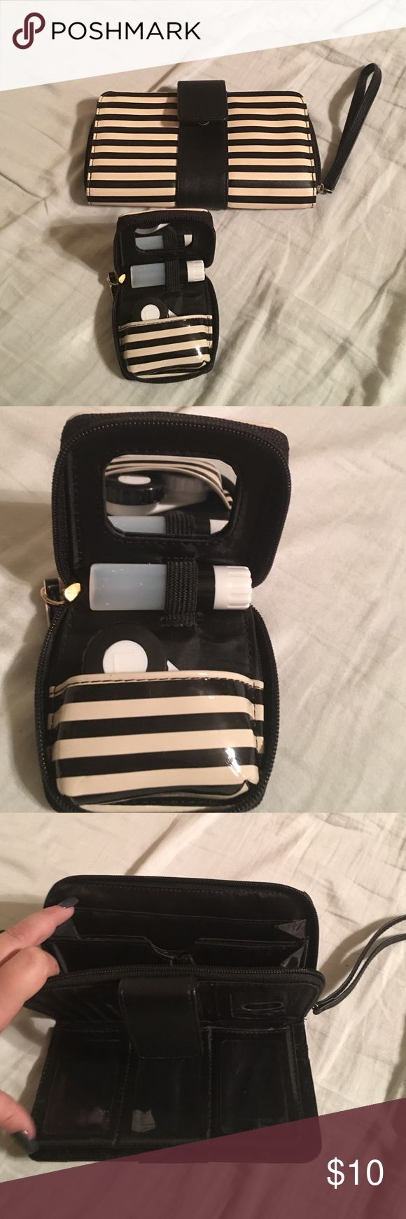 Matching wallet and contact lens case Cute, brand new, matching wristlet wallet and contact lens travel case Bags Wallets