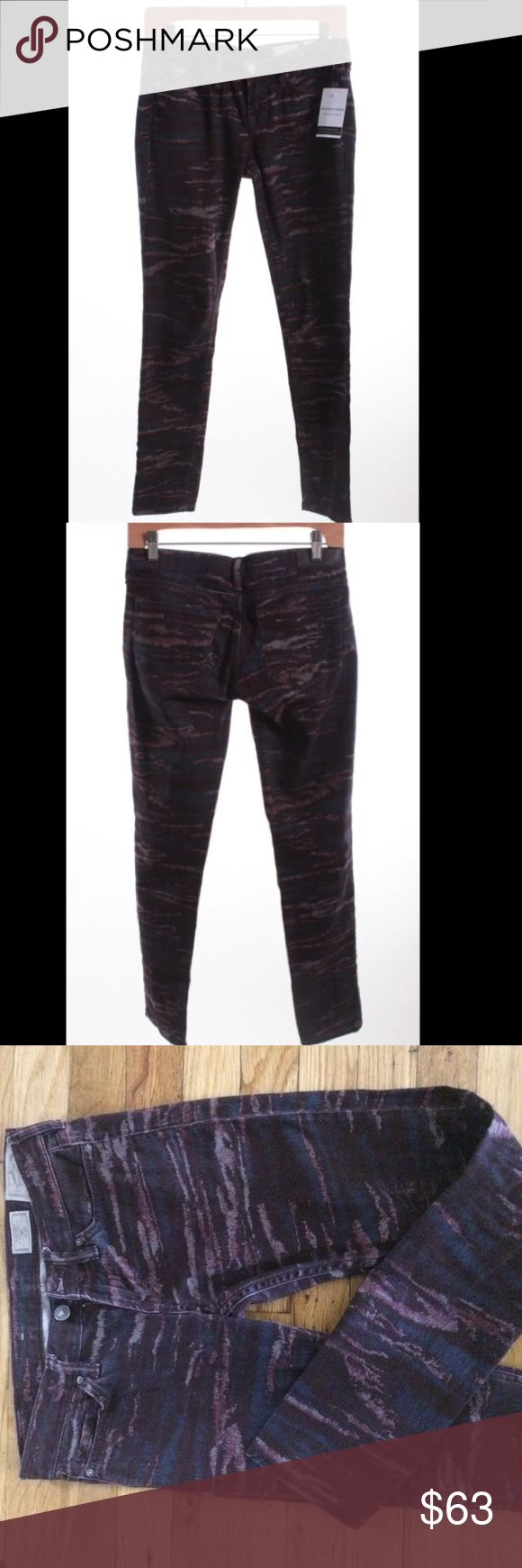 WOMEN'S ALLSAINTS JEANS 'ASHBY FLECK' WOMEN'S ALLSAINTS JEANS 'ASHBY FLECK' skinny jeans in abstract maroon camo denim  Zip fly, button and rivets all branded. Signature subtle back pocket stitching. Leather logo patch on back.  Waist size 25 All Saints Jeans