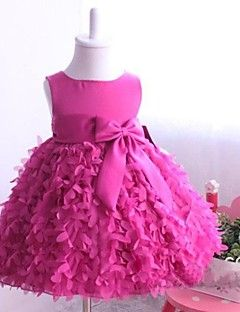 Flower Girl Dress Knee-length Satin/Tulle Ball Gown/Princess Sleeveless Dress