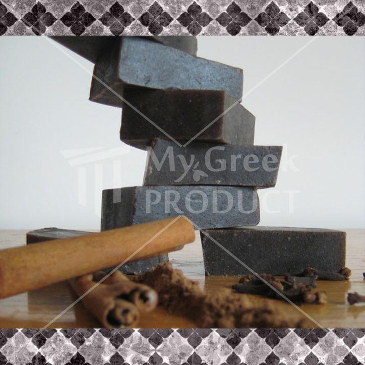Οlive Oil Soap with Nutmeg, cinnamon & Glove.It is time to take a bath with Elaia unique natural black soap inspired by the scents of East!!!! http://mygreekproduct.com/index.php?id_product=189&controller=product&id_lang=1