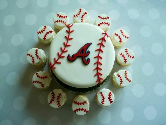 Atlanta Braves cake #atlantabraves #baseballcake #mimissweetcakesnbakes