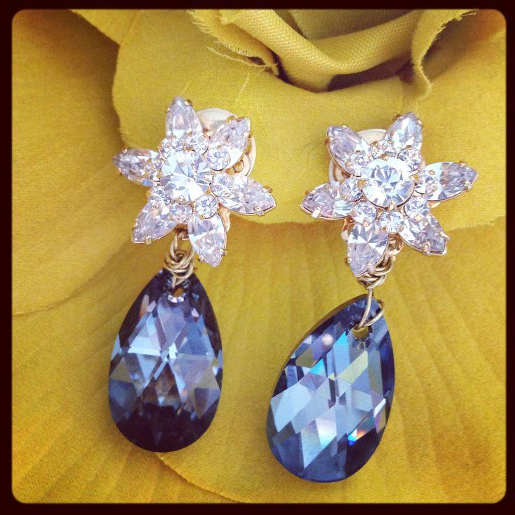 Black Irridiscent Crystal Flower Earrings, Clip On Earrings, Sonia M Designs