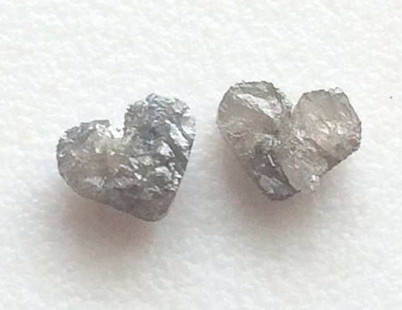 Grey Raw Diamond Natural Heart Matched Pair Heart Rough