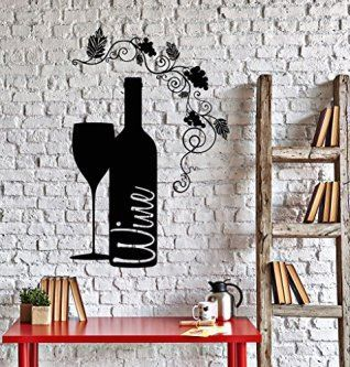 This is truly a Rich, Unique, and Bold Wine Wall Art Decor piece.  admittedly i love all types of wine wall art decor especially wine wall clocks, metal wall art,  wine grapes wall art decor. As these provide great kitchen decorating inspiration making wine wall art my favorite type of kitchen wall art.  Vinyl Wall Decal Wine Bottle Glass Grape Alcohol Bar Stickers (ig4232) Black
