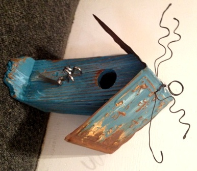 Birdhouse - Blue with Blue Roof & Fork PerchForks Perch, Crafts Ideas, Blue Roof