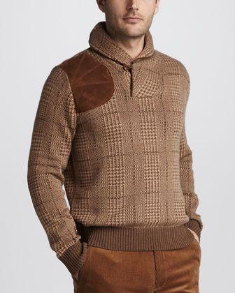 'Glen Plaid' Shawl-Collar Sweater by Ralph Lauren