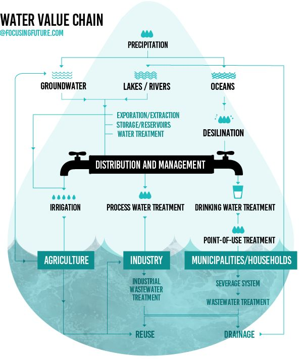 Infographic: Water Value Chain  Read about future of water at focusingfuture.com