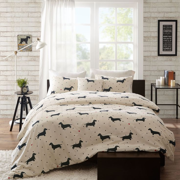 Create an eye-catching look in your bedroom with the HipStyle Hannah Collection. This unique dachshund pattern is printed on a 200 thread count cotton duck fabric for a textured look and feel.