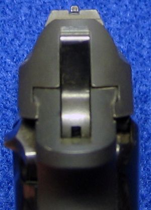 Rear view of Beretta 3032 Tomcat 32 ACP semi-auto pistol, showing the sights - Photo © Russ Chastain Find our speedloader now!  http://www.amazon.com/shops/raeind