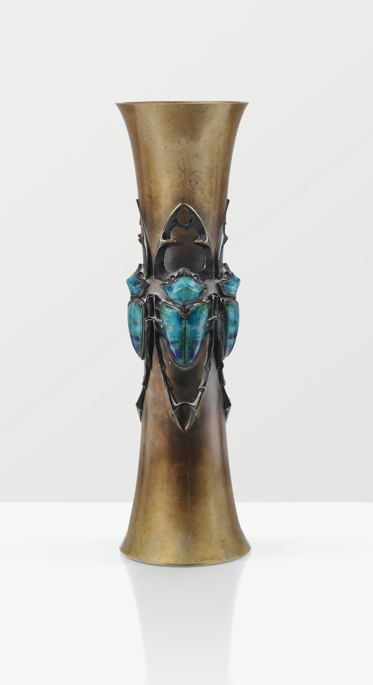 Lucien Gaillard, patinated bronze vase with enamelled copper decoration, 1905