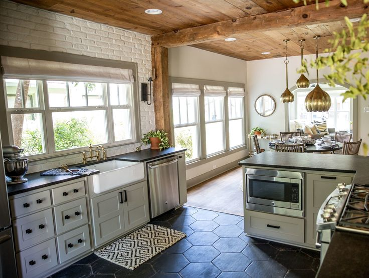 The natural shiplap ceiling in here is a match with the shiplap ceiling in the upstairs office. I love features like this that carry throughout the entire home and make it feel cohesive.