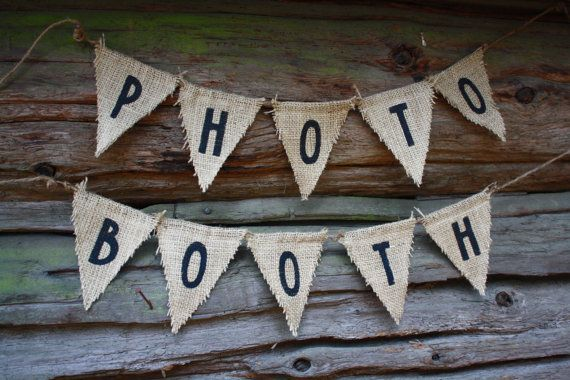 Photo Booth Wedding Banner Sign Rustic Burlap by SewBarefoot, $19.95