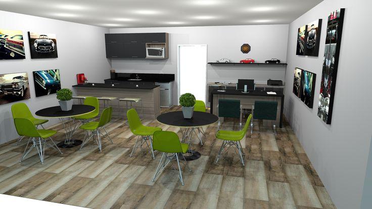 Projeto para Concessionária. Área de atendimento com copa para clientes e funcionários. O ambiente foi projetado para proporcionar descontração e conforto nas negociações. A paleta de cores neutra recebe um toque de cor com as cadeiras verdes e os quadros de carros.