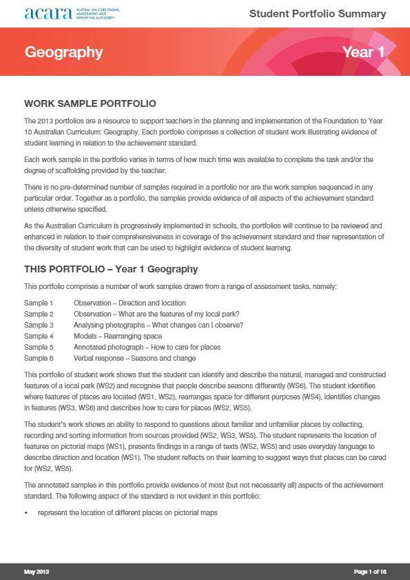 Year 1 Geography - work sample portfolio