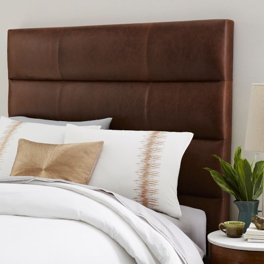 Panel Tufted Premium Leather Headboard | West Elm--- need to DIY this ASAP