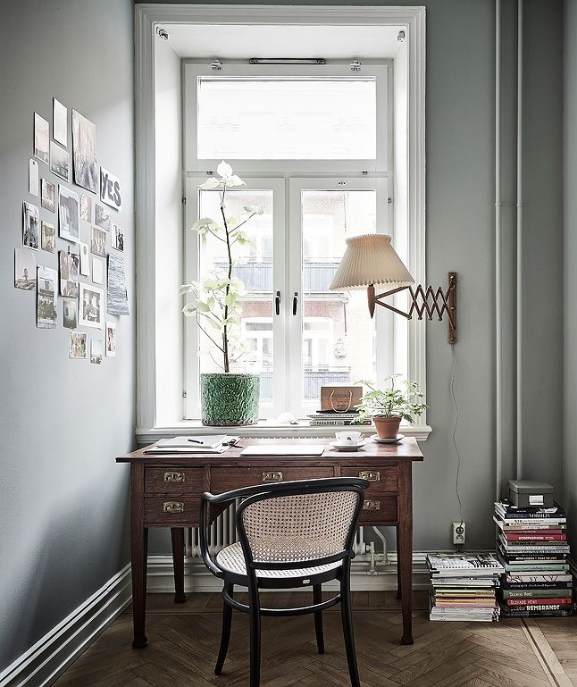 Classic Thonet armchair paired with vintage desk and lamp. Beautiful composition by Johanna Bradford.