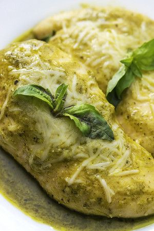 Slow Cooker Pesto Ranch Chicken has tons of flavor with just 5 minute prep and only 4 ingredients!